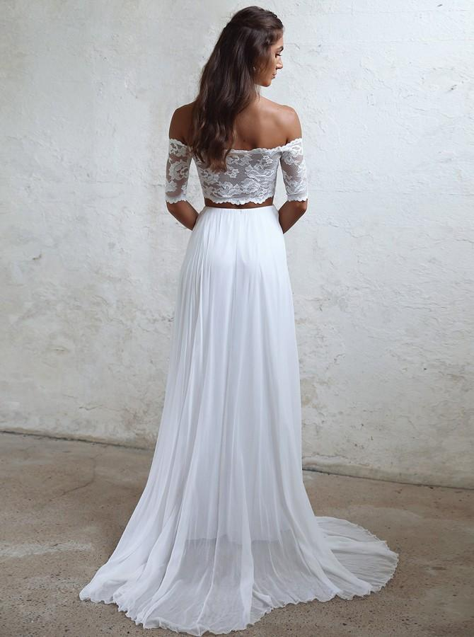 Boho Off Shoulder Lace Wedding Dresses Two Piece Bridal Gown PW65