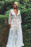 V-Neck Waist Beaded Appliques Boho Wedding Dress with Long Sleeves PW72
