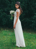 Cap Sleeves Sheath V-Neck Backless Wedding Dresses with Lace PW71