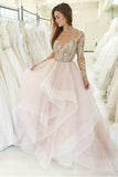 Princess Pink Bateau Long Sleeves Wedding Dresses with Appliques PW69
