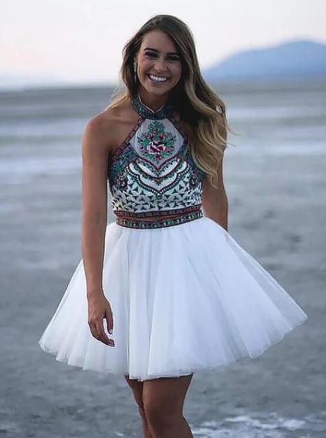 A-line Halter White Tulle Two Piece Homecoming Dress With Embroidery GM04