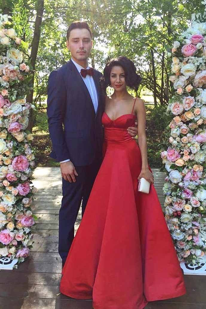 A-Line Spaghetti Sweetheart Red Satin Long Prom Dresses with Ruched MP300