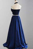 Elegant A-line Two Piece Halter Royal Blue Satin Prom Dresses MP299