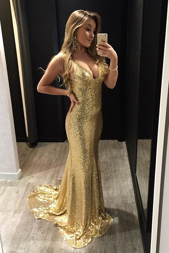 Sparkly Sequins Spaghetti Straps Backless Gold Mermaid Prom Dress MP290