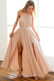 Backless Chiffon Long Prom Dress, A-Line Halter Blush Evening Dress MP286
