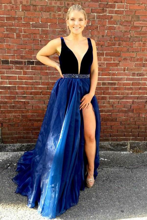 A-Line V-Neck Beading Waist Dark Blue Organza Prom Dress With Slit MP280