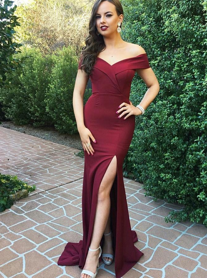 Burgundy Prom Dresses Mermaid Off-the-Shoulder with Split MP283