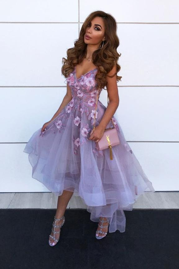 A-Line V-neck Hi-Lo Lilac Prom Dresses 8th Graduation Dress with Flowers MP240
