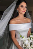 Simple Elegant A-line Wedding Dresses Off Shoulder Beach Bridal Dress PW159