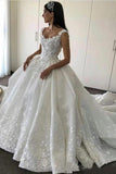 Ball Gown Straps Sweetheart Wedding Dresses Lace Appliques Bridal Dresses PW102