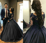 Ball Gown Long Sleeves Navy Blue Prom Dress Quinceanera Dresses MP93