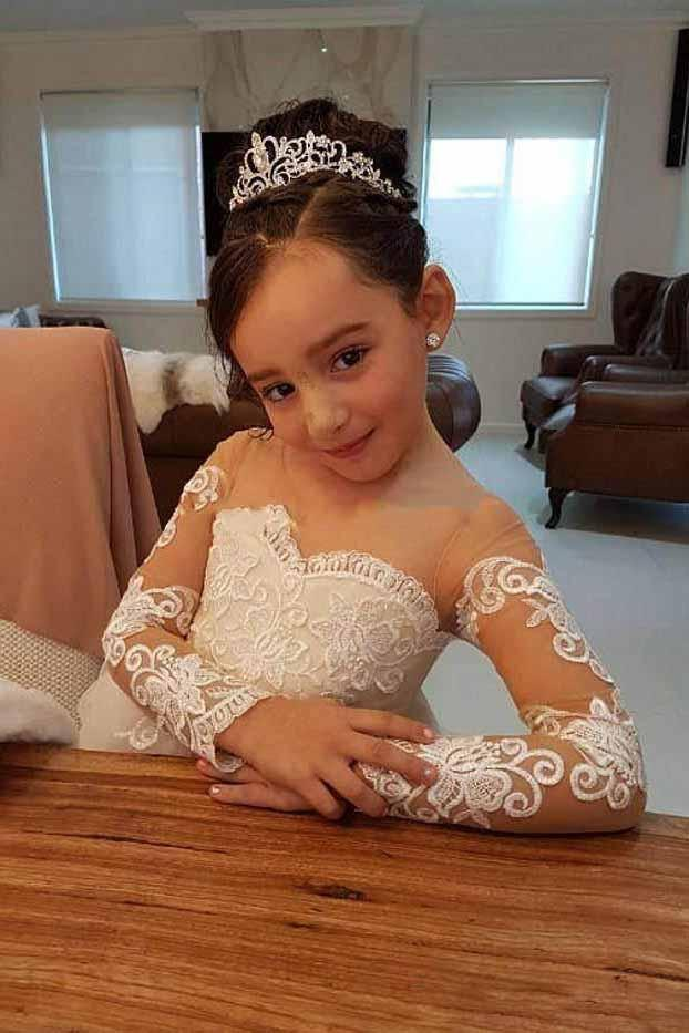 Charming Princess Long Sleeves Flower Girl Dress with Appliques OF121