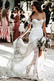Ivory Sheath Lace Wedding Dresses Sweetheart Split Beach Bridal Dress PW155