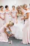 Simple Off Shoulder Sheath Pink Bridesmaid Dresses With Slit PB48