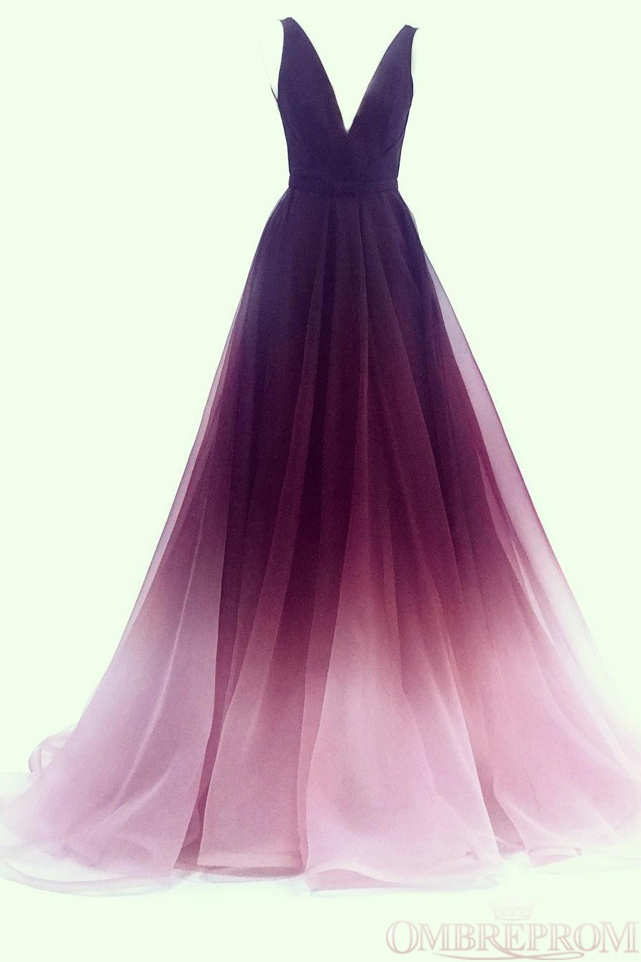 A-line V-neck Tulle Ombre Long Prom Dresses Simple Formal Gown MP225