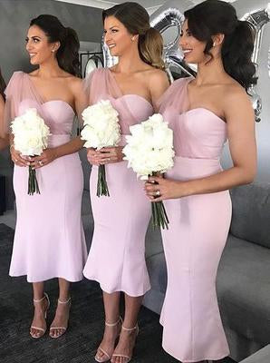 One Shoulder Pink Mermaid Bridesmaid Dresses, Pink Wedding Party Gown PB49