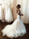 Stunning Off Shoulder Mermaid Lace Applique Wedding Dresses With Tulle Skirt PW132