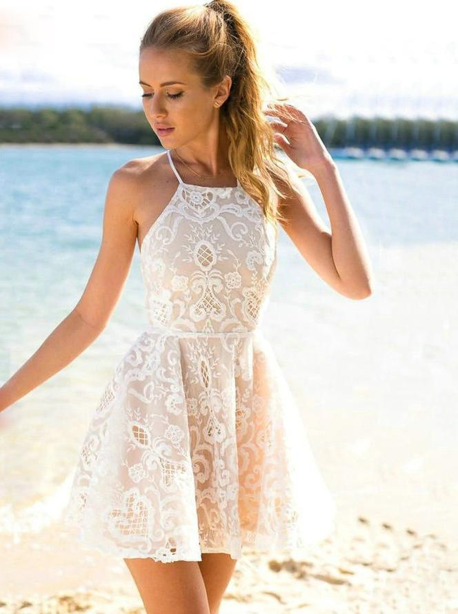 Lace Boho Homecoming Dresses Halter Neck Lace Cocktail Party Dress GM65
