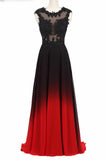 Round Neck Lace Applique Top Chiffon Black & Red Ombre Prom Formal Dresses MP216