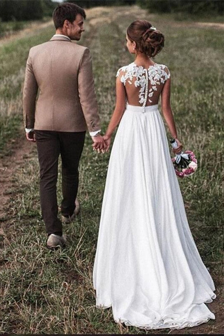 Lace Appliques Wedding Dresses Cap-Sleeves Beach Bridal Gown PW134