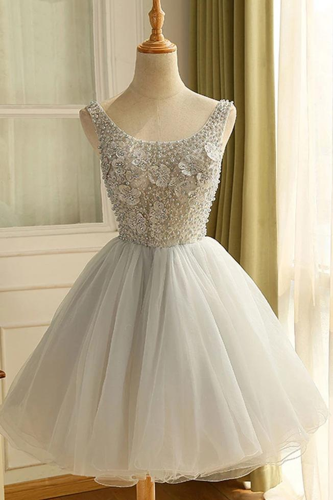 Princess Tulle Graduation Dresses Short Homecoming Dress With Beading GM16
