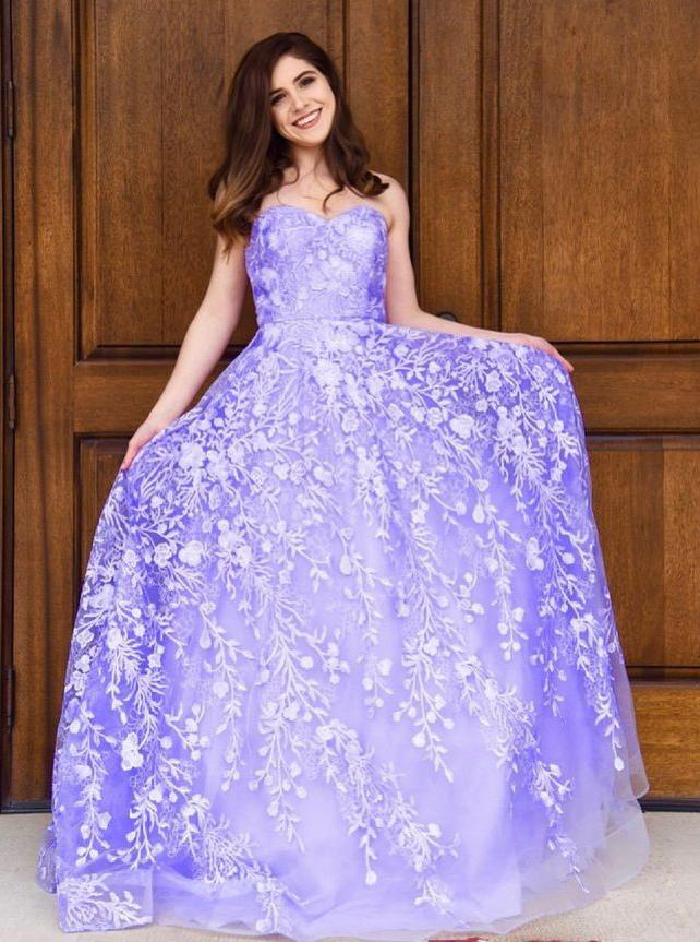 Sweetheart Tulle Long Prom Dresses, Appliques Long Formal Gown MP187