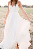 Simple Spaghetti Strap Chiffon Beach Wedding Dresses with Split PW144