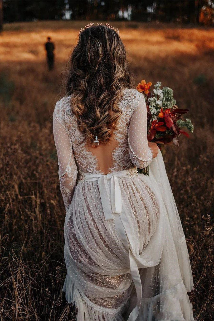 Lace Long Sleeve Polka Dot Bridal Gown Rustic Wedding Dress PW86