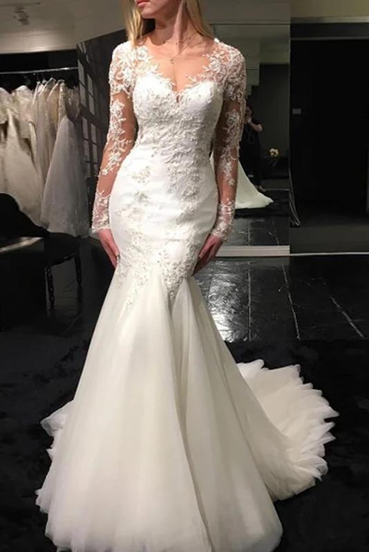 Mermaid V-neck Long Sleeve Appliques Wedding Dresses With Sheer Back PW79