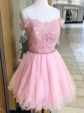 Off Shoulder Pink Homecoming Dress With Beading, Appliques Short Sweet 16 Dress GM93