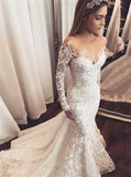 Sexy Mermaid Long Sleeve Lace Applique Wedding Dresses With Beading PW133