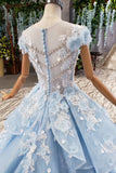 Sky Blue Quinceanera Dresses Ball Gown Vintage Wedding Dress With Appliques Beading MP208