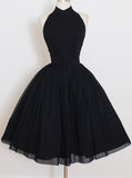 Elegant Black Short Prom Dresses, Halter Homecoming Party Dress GM95