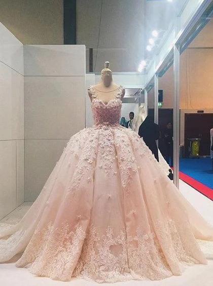 Sheer Round Neckline Pink Lace Applique Wedding Dresses Quinceanera Dress PW145