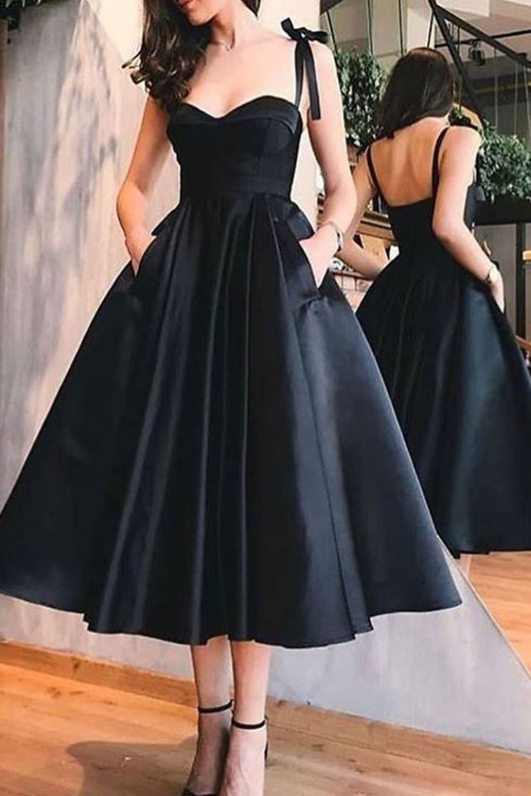 Straps Black Short Prom Dresses Homecoming Dress With Pockets MP219