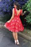 V-neck Lace Red Homecoming Dresses Short Prom Dress GM35