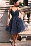 Sparkly Navy Blue Knee Length Homecoming Dresses Prom Dresses GM44