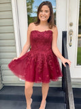 A-line Sweetheart Tulle Homecoming Dresses Appliques Short Prom Dress GM45