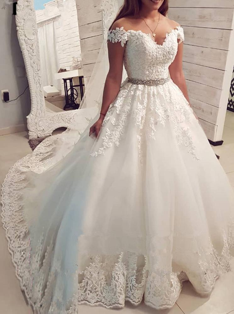 Off Shoulder V-neck Ball Gown Appliques Wedding Dresses With Beading PW77
