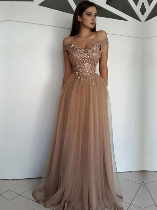Off Shoulder Sweetheart Tulle Long Prom Dresses, Appliques Formal Evening Dress MP232