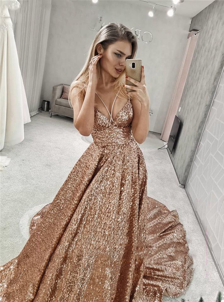Sparkly Straps V Neck Long Prom Dresses with Sequin Evening Dress MP199