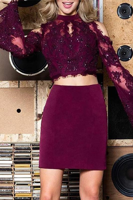Long Bell Sleeve Two Piece Sheath Homecoming Dresses With Lace Beading GM03