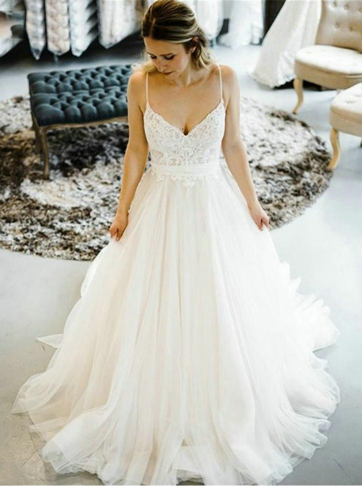 Lovely A-line Straps Wedding Dresses Backless Tulle Bridal Gown PW129