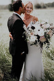 Simple V-neck Boho Beach Wedding Dresses Sheath Rustic Bridal Gowns PW156