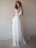 A-line V-neck Cap Sleeves Chiffon Beach Wedding Dresses With Appliques PW120