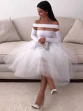 Sexy White Homecoming Dress for Women Long Sleeve Short Evening Party Dress MP221