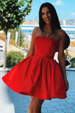 Simple Red Satin Strapless Short Homecoming Dresses Party Dresses GM24