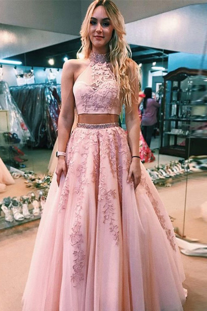 Halter Two Piece Pink Tulle Prom Dress With Beaded Appliques MP784