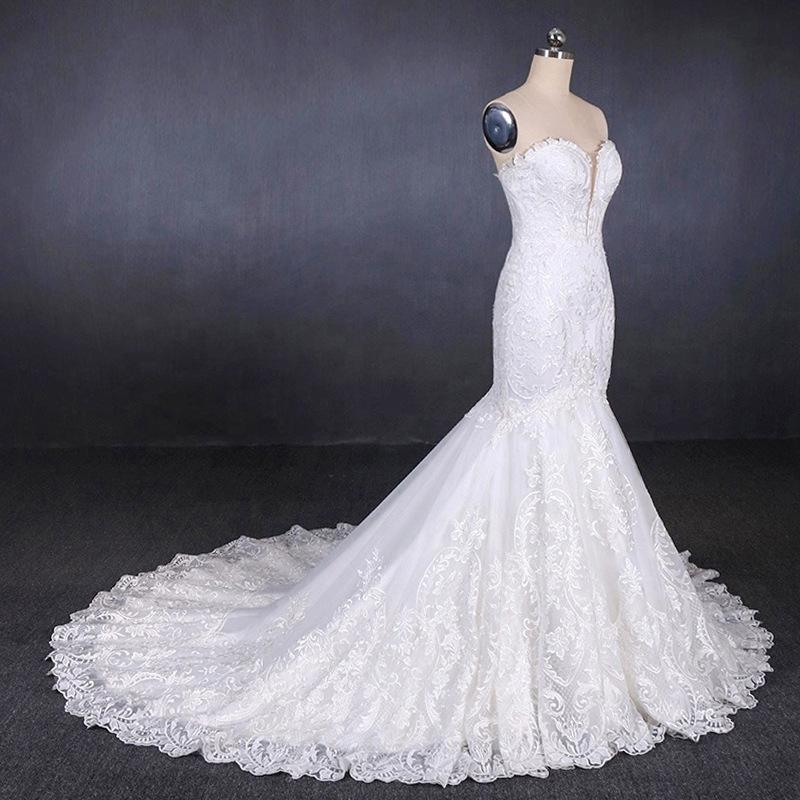 Sweetheart Neckline Mermaid Lace Wedding Dresses With Applique PW92