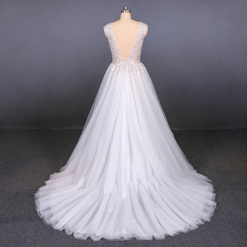 Tulle Beach Wedding Dresses with Appliques, V-neck Backless Bridal Dress PW115